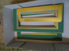 Box of green and gold picture mounts