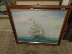"""A M Breze - Oil on canvas - Tall Boat at Sea signed bottom right 23 19"""""""