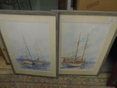"""A pair of Watercolours of Sailing Boats signed bottom right ? G Arlton each 21 1/2 x 14"""""""