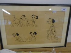 """W.A Johnson - A cartoon of Dalmatian puppies pen and ink 15 1/2 x 9"""""""