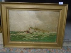 Oil on canvas of steam ship, approx 66cm x 48cm