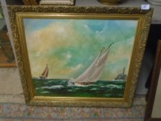 Oil on canvas of sailing ships 'Rounding the fastnet', C Satchel 1998, approx 71cm x 61cm