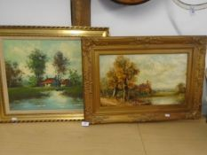 Picture of pastoral scene in a gilt frame plus an oil on canvas of red roof, signed bottom right (