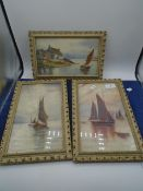 3 watercolour seascape paintings, framed and glazed by Olive Watkinson