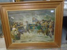 Large framed print of 'rescue from a watery grave' 95cm x 78cm