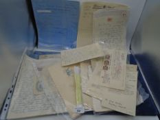 Collection of assorted vintage ephemera incl letters, invoices, cards etc