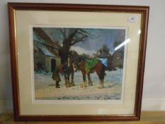 Framed Limited Edition Print 7/275 of heavy horses in snow, Rosemary Sarah Welch