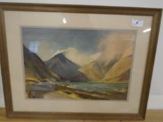 """Wind and Sun, Wastwater"" framed print by w Heaton Cooper"