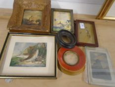 Collection of small vintage pictures and frames incl oil on board