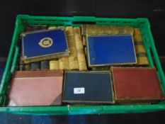 3 trays of vintage unsorted books, mostly classical novels, 1/4 leather bound
