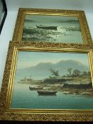 2 Oils on canvas of Boats both signed LHONG 24 X 30 cm