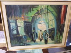 Oil on canvas of Iranian ? Scene ( unsigned ) 60 x 45 inches