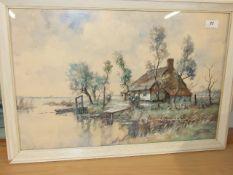 J C VAN DER HEIJDEN ( heyden ) Watercolour dutch landscape early 20 th century 25.5 x 17.5 inches