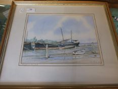 Barges at Pin Mill Jim Peck 1990 Watercolour 29 x 31 cm