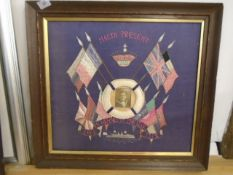 Framed WW1 silk panel with naval picture embroidered 'Malta Present, In memory of the war 1914 -