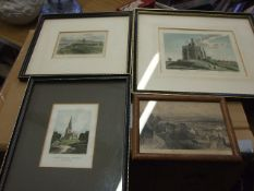4 Engravings Cromer , Snettisham Church , Our Ladies Mount and View from the walls of Chester