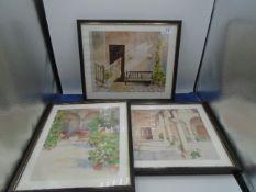 3 framed Richard Akerman prints of courtyard scenes, 32cm x 27cm each