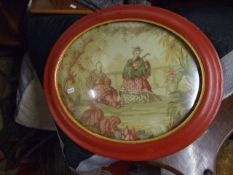 2 Oval Oriental Pictures in domed glass frames 20 x 17 inches