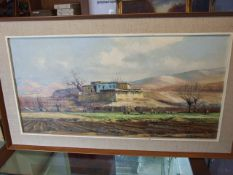 ARTHUR SARKISSIAN (IRANIAN, 20TH CENTURY) Rural Scene Oil on Canvas with wooden stretcher 40 x 80
