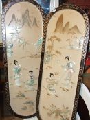 2 Oriental Wall Plaques with Mother Pearl on Painted Background 36 x 12 inches