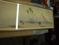 Watercolour of Pyramids 23 x 8 inches