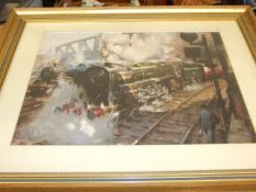 2 Framed Train Pictures 38 x 28 inches
