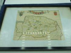 Framed Map of Norfolk 27 x 21 cm