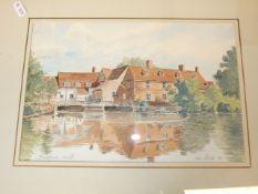 Jim Peck 88 Flatford Mill Watercolour 28 x 19 cm