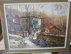 ARTHUR SARKISSIAN (IRANIAN, 20TH CENTURY) Oil on Canvas of Village Scene 45 x 60 cm