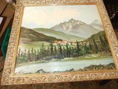 Oil on Board of Alpine Scene 38 x 34 cm