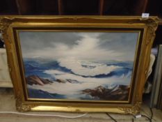 Large oil on canvas of sea in gilt frame, approx 93cm x 68cm