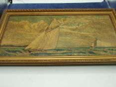 Oil on Board Ships , 8 1/4 x 18 inches and 2 others