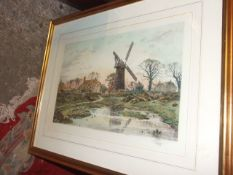 Coloured Print of watermill after Fred Slocombe 29 1/2 x 38 1/2 inches