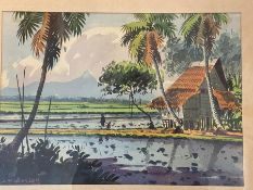 Abu Bakar Ibrahim, Malaysian landscape, watercolour, signed lower left, 36 x 26cm, signed A B Hassan