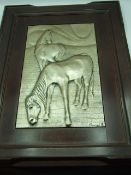 Brunel wall hanging with 2 horses Made with 925 silver, by Brunel, Italy, 1970s/1980s Original