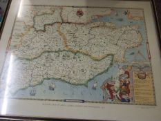 Saxtons Map of Kent , Sussex , Surrey and Middlesex 1575 printed by Taylowe 1980 62 x 50 cm &