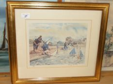 Mary Grundy limited edition signed print 118/250 Boating Pond 18 x 16 inches