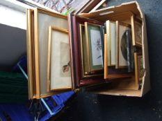 Box of prints , watercolours etc