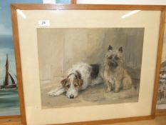 Marion Rodger Hamilton Harvey pastel drawing of 2 dogs 22.5 x 19 inches