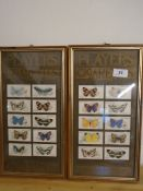2 framed Players cigarette cards of butterflies