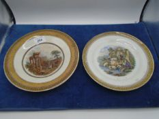 "2 hand coloured Prattware plates with pastoral scenes, 8"" and 8.5"" diameter"
