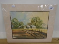 S Woorington Watercolour Wood Barns on hill signed bottom right (not framed) 11 x 9""