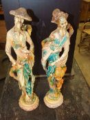 2 Oriental Resin Figures 19 inches tall