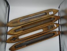4 extra large vintage weaving shuttles, approx 55cm long