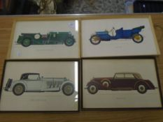 4 framed car prints - Mercedes Benz 1928, Maybach 1936, Bentley Blower 1930 and Lancia 1909