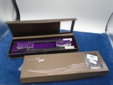2 boxed sets of Hong Kong chopsticks and etched glass rests