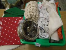Lot of various tablecloths, napkins etc plus spice container