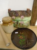 Mixed lot of kitchenalia to incl salt glazed pot, tray, tea cosy plus a horse print