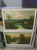 2 oil on boards of country scenes a/f