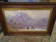 A pair of Highland prints in Oak frames 7 1/2 x 9""